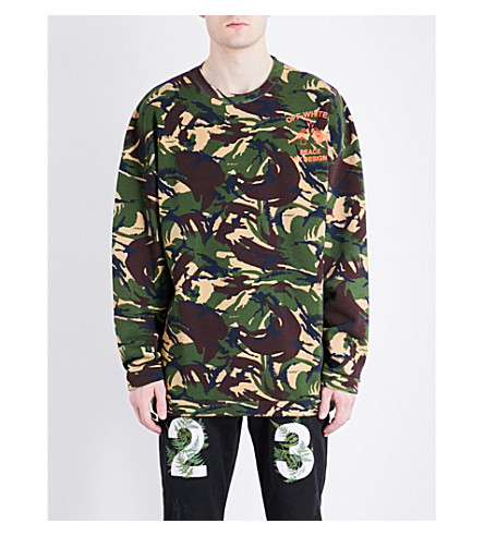 OFF-WHITE C/O VIRGIL ABLOH Camouflage cotton-jersey sweatshirt (All+over+orange
