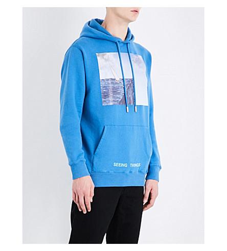 OFF-WHITE C/O VIRGIL ABLOH Sea-print cotton-jersey hoody (Light+blue+multicolor