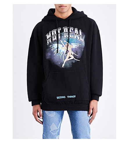 OFF-WHITE C/O VIRGIL ABLOH Angel Not Real cotton-jersey hoody (Black+multicolor