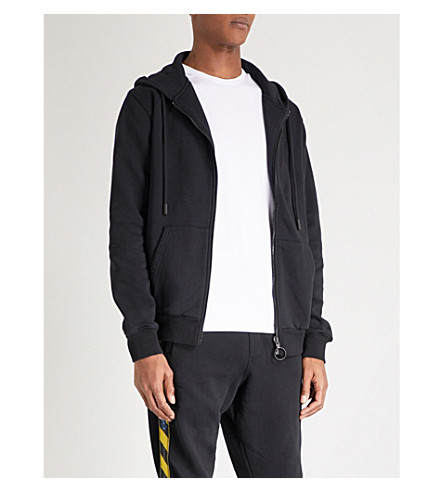 OFF-WHITE C/O VIRGIL ABLOH Arrow tape-print cotton-jersey hoody (Black