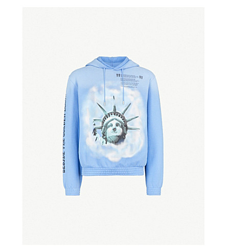 OFF-WHITE C/O VIRGIL ABLOH Statue of Liberty-print cotton-jersey hoody (Blue
