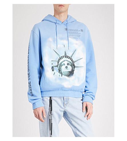 con Estatua Azul con jersey algodón de estampado VIRGIL capucha de de de la ABLOH de Libertad C Sudadera O zUdqYz