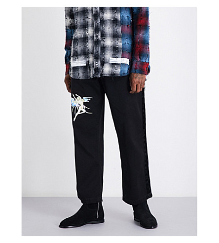 OFF-WHITE C/O VIRGIL ABLOH Angel-print relaxed-fit high-rise stretch-cotton jogging bottoms (Black+multi