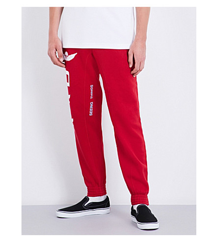 OFF-WHITE C/O VIRGIL ABLOH Parachute-print cotton-jersey jogging bottoms (Red+white