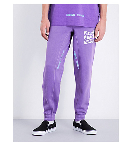 OFF-WHITE C/O VIRGIL ABLOH Relaxed-fit tapered cotton-jersey jogging bottoms (Violet+white