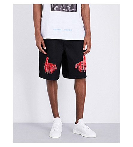 OFF-WHITE C/O VIRGIL ABLOH Scorpion-embroidered jersey shorts (Black