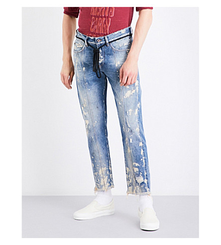 OFF-WHITE C/O VIRGIL ABLOH Paint-splattered distressed cropped straight-leg jeans (Paint+white