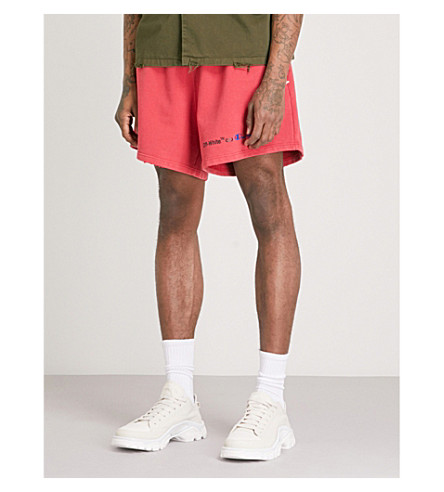 OFF-WHITE C/O VIRGIL ABLOH Champion cotton-blend shorts (Red+black