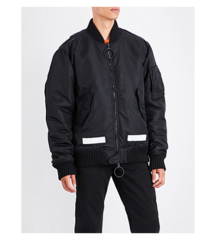 OFF-WHITE C/O VIRGIL ABLOH Brushed logo-print satin bomber jacket (Black+white