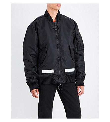 OFF-WHITE C/O VIRGIL ABLOH Brushed logo-print satin bomber jacket (Black+white