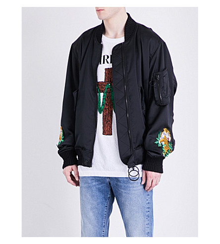 OFF-WHITE C/O VIRGIL ABLOH Souvenir satin bomber jacket (Black+white