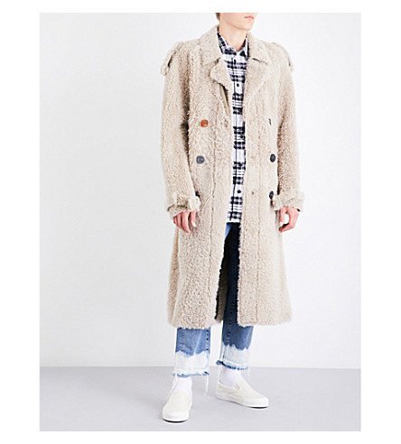 OFF-WHITE C/O VIRGIL ABLOH ART DAD x Off-White Shearling trench coat (Beige