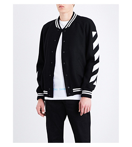 OFF-WHITE C/O VIRGIL ABLOH Striped wool-blend varsity jacket (Black+white