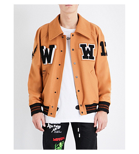 OFF-WHITE C/O VIRGIL ABLOH Embroidered stretch-cotton varsity jacket (Light+brown+black