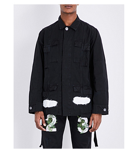 OFF-WHITE C/O VIRGIL ABLOH Spray logo-print cotton-twill field jacket (Black+white