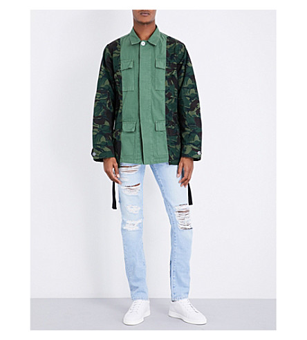 OFF-WHITE C/O VIRGIL ABLOH Camouflage-print cotton-twill field jacket (Green+white