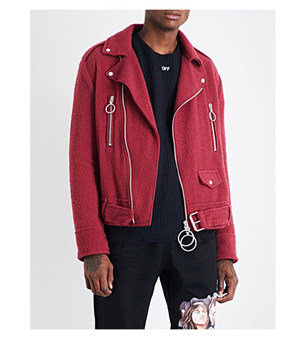 OFF-WHITE C/O VIRGIL ABLOH Logo-print boiled wool-blend biker jacket (Bordeaux+black