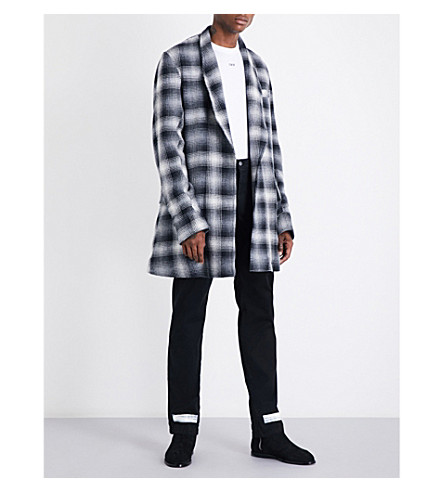 OFF-WHITE C/O VIRGIL ABLOH Self-tie checked wool and cotton-blend jacket (All+over+n