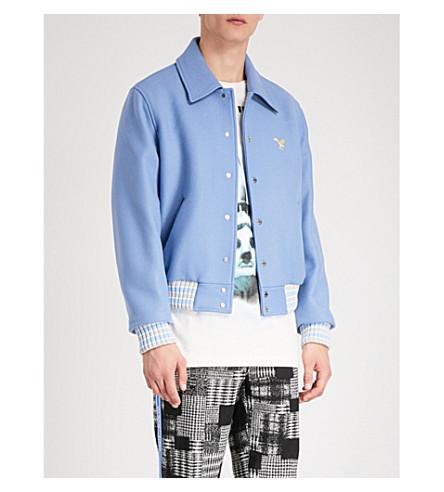 OFF-WHITE C/O VIRGIL ABLOH Embroidered wool-blend jacket (Blue