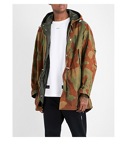 OFF-WHITE C/O VIRGIL ABLOH Camouflage cotton parka coat (All+over+white
