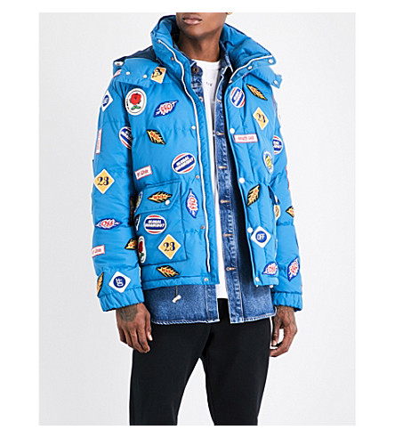 OFF-WHITE C/O VIRGIL ABLOH Brand-patches quilted down and feather-blend coat (Blue+multicolor