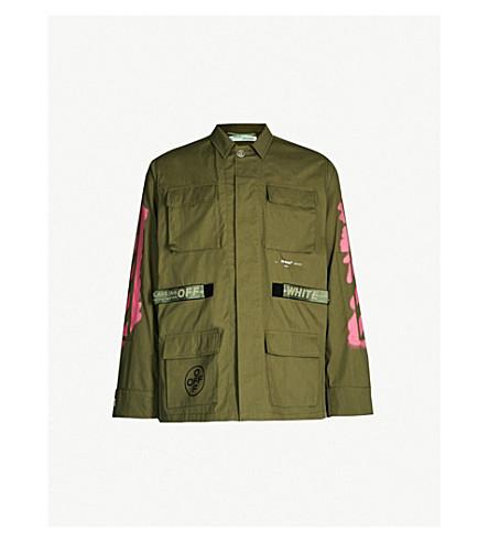 OFF-WHITE C/O VIRGIL ABLOH Arrow-print cotton-blend twill army jacket (Khaki