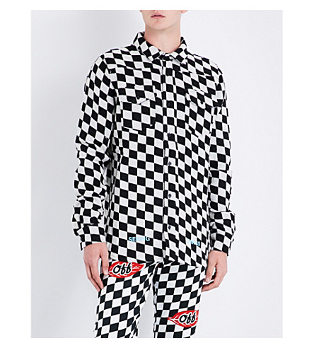 OFF-WHITE C/O VIRGIL ABLOH Checked regular-fit woven shirt (All+over+black