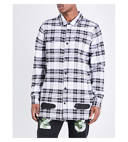 OFF-WHITE C/O VIRGIL ABLOH Spray-effect check-print cotton shirt (All+over+blue