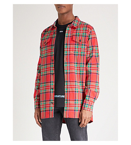 OFF-WHITE C/O VIRGIL ABLOH Checked oversized cotton-blend shirt (Red