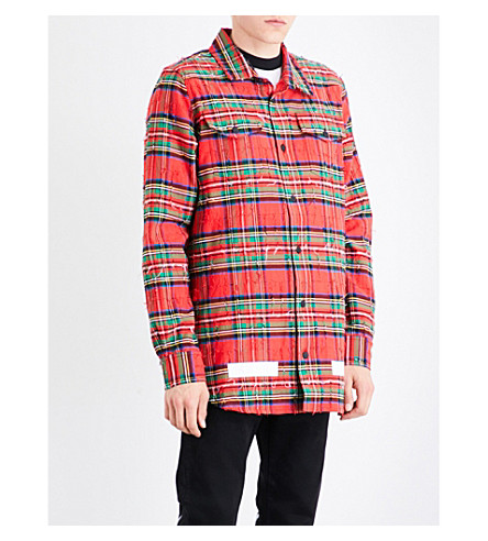 OFF-WHITE C/O VIRGIL ABLOH Distressed checked cotton shirt (Red+check