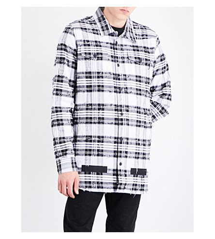 OFF-WHITE C/O VIRGIL ABLOH Distressed checked cotton shirt (White