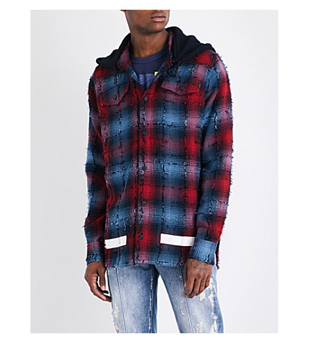 OFF-WHITE C/O VIRGIL ABLOH Distressed checked cotton-blend shirt (Red