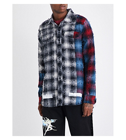OFF-WHITE C/O VIRGIL ABLOH Distressed checked cotton-blend shirt (Blackwhite
