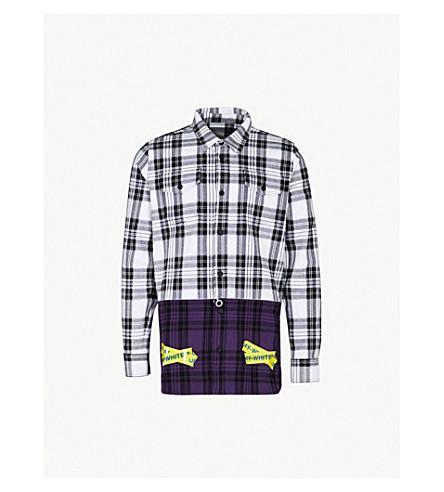 OFF-WHITE C/O VIRGIL ABLOH Tape-detailed regular-fit cotton-blend shirt (Grey