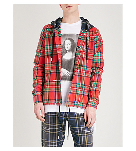 OFF-WHITE C/O VIRGIL ABLOH Checked cotton-blend hoody (Red