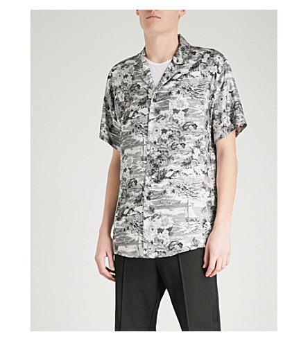 OFF-WHITE C/O VIRGIL ABLOH Hawaiian-print regular-fit silk-twill shirt (Black+white