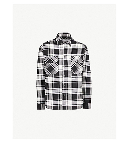 OFF-WHITE C/O VIRGIL ABLOH Check Shirt-print brushed cotton-blend shirt (Grey