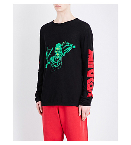 OFF-WHITE C/O VIRGIL ABLOH Skull and text-motif cotton jumper (Black+multi
