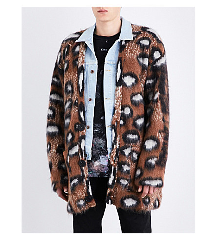 OFF-WHITE C/O VIRGIL ABLOH Leopard wool and mohair-blend cardigan (Multicolor