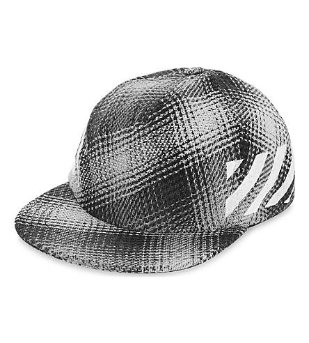 OFF-WHITE C/O VIRGIL ABLOH Check and diagonal-stripe strapback cap (All+over+white
