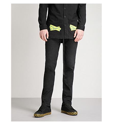 OFF-WHITE C/O VIRGIL ABLOH 黄色带修身版型紧身牛仔裤 (黑色
