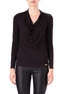 MICHAEL KORS Leather yoke cowl-neck top