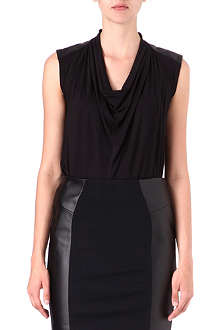MICHAEL KORS Cowl-neck faux-leather top