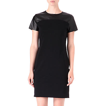 MICHAEL KORS Leather yoke dress (Black