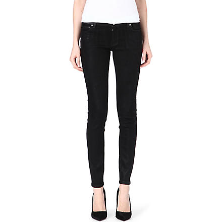 MICHAEL KORS Coated skinny mid-rise jeans (Black