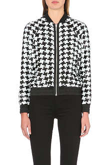 MICHAEL KORS Sequinned houndstooth bomber jacket