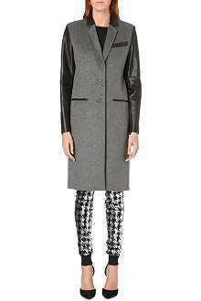 MICHAEL MICHAEL KORS Leather-panel wool-blend coat