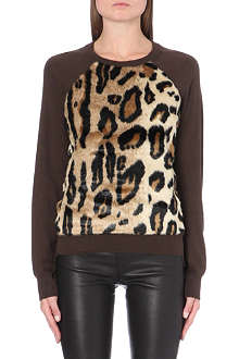MICHAEL MICHAEL KORS Faux fur-panel knitted jumper