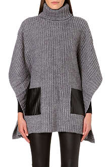 MICHAEL MICHAEL KORS Leather-effect pocket poncho