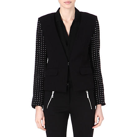 MICHAEL KORS Embellished-sleeve blazer (Black